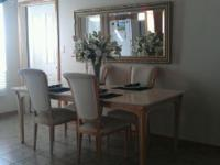solid granite dining table w/6 chairs very nice contact