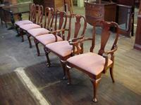 Solid mahogany set of 6 Queen Anne dining chairs all in