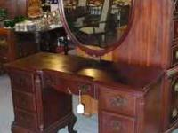 Beautiful SOLID Mahogany Vanity with Shield Mirror sits