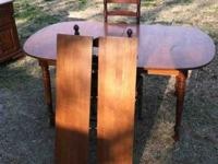 mid 1960's solid maple NO LAMINATES table and china