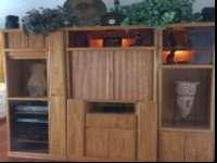 Solid oak nice Entertainment center with lights and