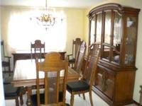 for sale is this very gently used solid oak dining room