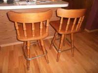Solid Oak Bar Stools. Good Condition. Will take best