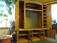 """Solid oak electronics cabinet. Measures 73"""" High by 59"""""""