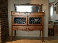 Antique china- buffet, made of quarter sawn oak, about