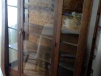 Solid oak, antique, heavy curio/china cabinet. Original