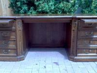 Beautiful solid oak desk and matching credenza.