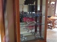 Solid Oak Display Case w/ Glass Shelves  -seven