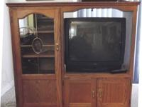 FOR SALE - Solid Oak Entertainment Cabinet with wheels,