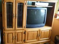 Beautiful Solid Oak Entertainment Center for sale.