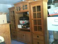 Solid oak entertainment center 3 piece lighted wall