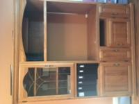 Solid Oak Entertainment Center-No particle board. Glass