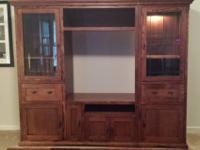 Mission style, solid oak entertainment unit. Two piece