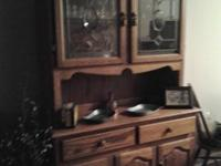 Solid Oak Hutch With Matching Dining Table 4 Chairs