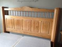 This solid oak set was handmade and looks like new.