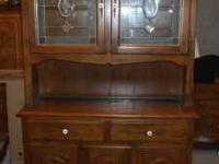 Solid oak lighted hutch, NO veneer, Leaded glass doors.