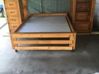 For sale solid oak Loftbed with matching full size bed,
