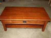 Solid Oak Mission style coffee table in good condition.