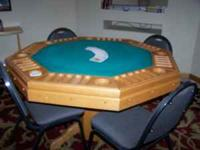 3 In 1 Dining Table Bumper Pool And Poker-Oak Table.