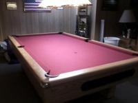 Solid Oak Pool Table, 4'x 8', with one inch slate,