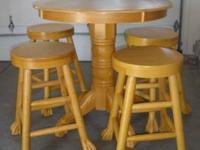 Solid Oak Pub Table & 4 matching Bar Stools. Bar stool