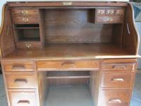 For Sale: Solid Oak Roll-top Computer Desk in