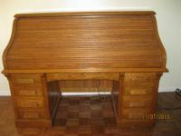 Mount Airy Roll Top Desk. Solid Oak - Good Condition.