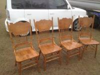 Solid Wood Table 40 x 77 and 4 hand carved chairs. Leaf