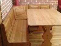 "Solid Oak 48""X36"" tressel table and bench set"