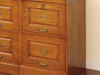 Solid Oak Two Drawer Filing Cabinet, LIKE NEW