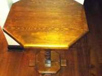 For sale is a solid oak dark stained end table. Must be
