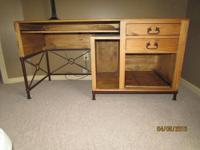 Solid real wood desk with two drawers, pull out area