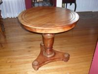 THIS BEAUTIFUL SOLID TEAK PEDESTAL TABLE WAS AN