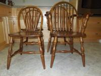 4 SOLID WALNUT CHAIRS 2 ARM CHAIRS 2 REGULAR CHAIRS