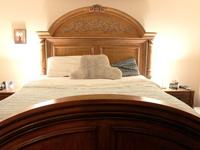 Solid walnut antique style king size headboard,
