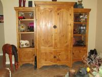 3 piece solid wood entertainment center. Two side