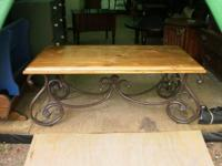 Nice Solid Wood and Iron Living Room Set Coffee Table