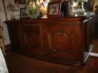 Gorgeous solid wood buffet table and cabinet. Asking