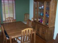 SOLID WALNUT COLORED WOOD DINING SET INCLUDING TABLE,