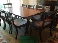 Solid Wood Dining Table Complete with 8 Chairs, 3