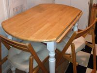 Solid wood formal dining room table with 8 chairs and