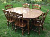 Dinning Room Set,Table w/ 6 Chairs: Oval Table Veneered