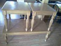 Solid honey oak matched coffee and end table set in