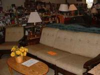 Older Style Solid Wood Frame Sofa and Matching Chair,