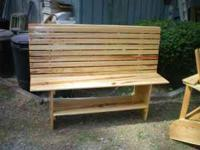 handcrafted, custom made, solid wood high backed bench