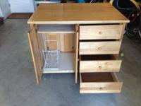 Solid wood kitchen island in excellent condition.