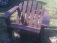 Hand made stained wooden patio furniture.  2 Chairs,