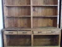 Solid wood rustic farm bookcase. Finely furnished and