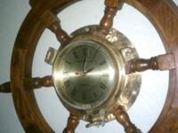 Solid Wood Ship's Wheel With Solid Brass Porthole