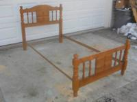 This is a nice twin bed. It is solid wood. Made in